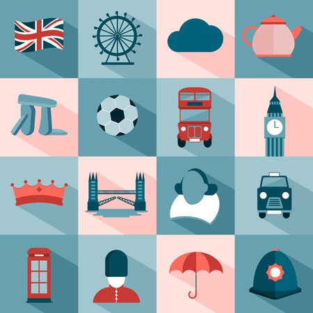 william shakespeare: set of modern vector icons about UK and London