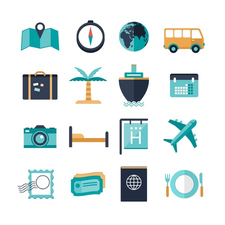vector modern travel icons Vectores