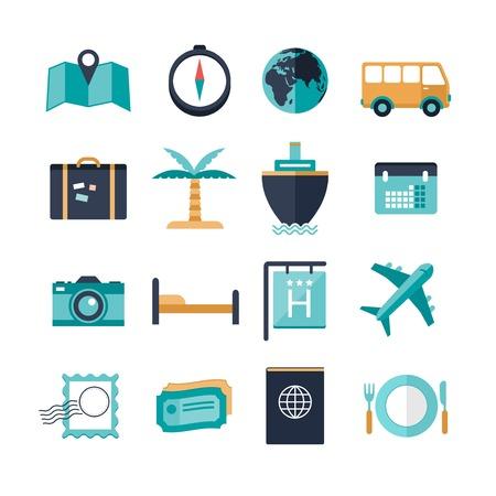 dattelpalme: Vektor modernen Reise-Ikonen