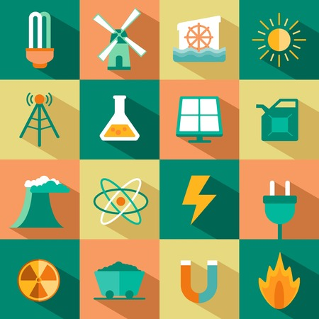 magnetismo: vector conjunto de iconos de energía