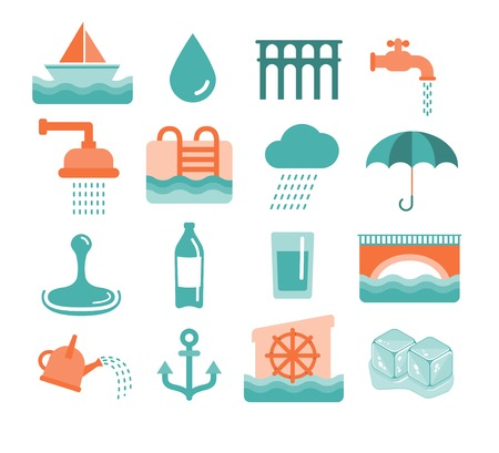 ice cubes: vector water icons