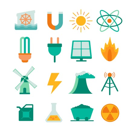 watermill: vector set of energy icons