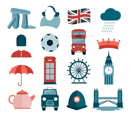 famous writer: set of modern vector icons about UK and London