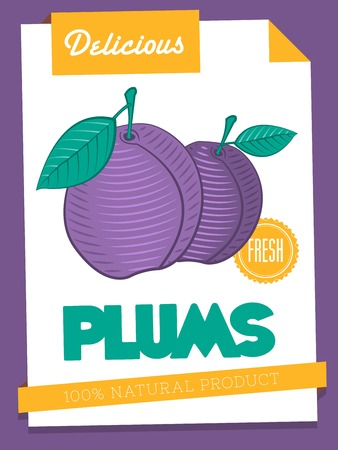 papaer: vector delicious plums poster Illustration