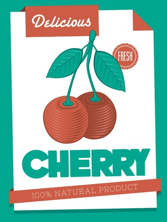 papaer: vector delicious cherry poster Illustration
