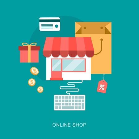 modern vector on line shop concept illustration