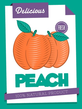 papaer: vector delicious peach poster Illustration