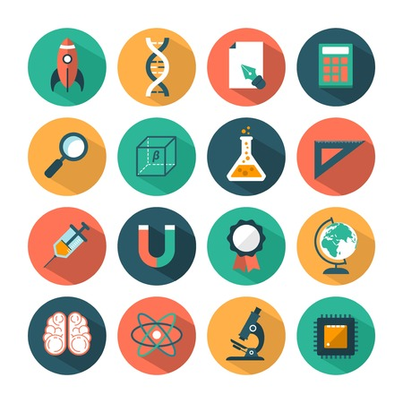 set of modern vector science icons Vector