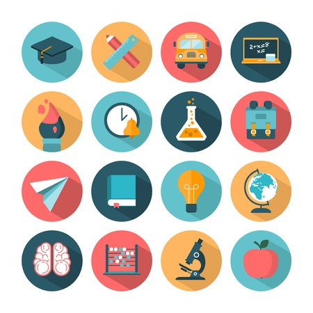 set of modern vector school icons Vector