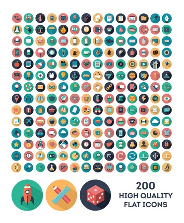 set of 200 high quality vector flat icons Ilustracja