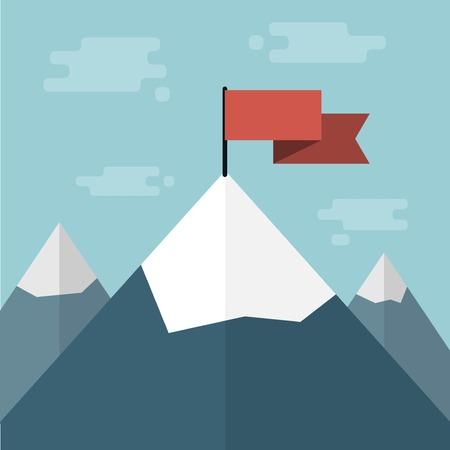 vecteur drapeau rouge sur le dessus de la montagne Vecteurs