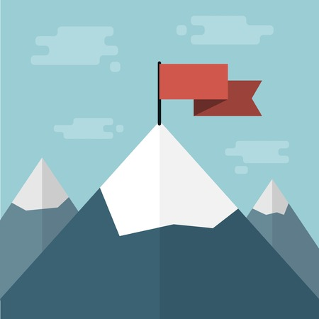 winning flag: vector red flag on mountain top Illustration