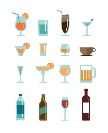 drunk party: vector drinks icons