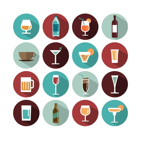 glass with red wine: vector drinks icons