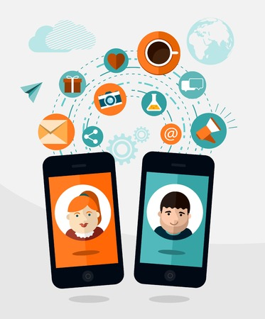 mobile communication: vector mobile communication concept illustration Illustration