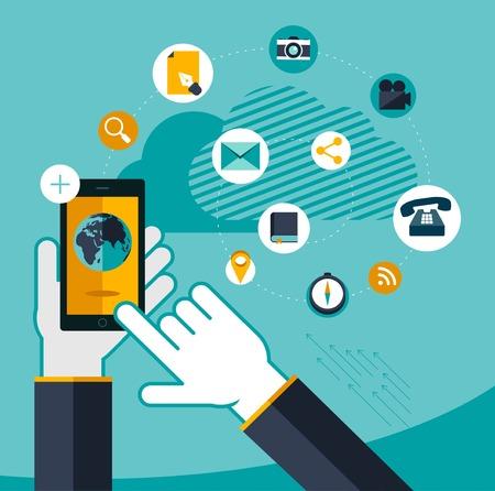 vector mobile service concept illustration Illustration