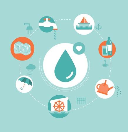 molino de agua: vector concepto de agua ilustración Vectores