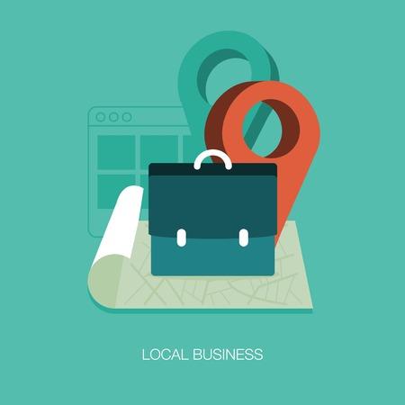 bannière business: vecteur entreprise locale concept illustration