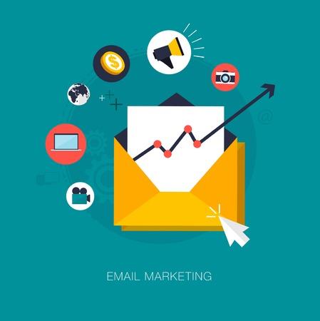 redes de mercadeo: vector concepto de marketing de correo electrónico ilustración