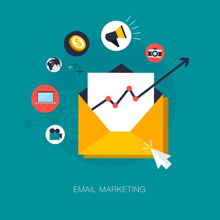 marketing online: vector email marketing concept illustration