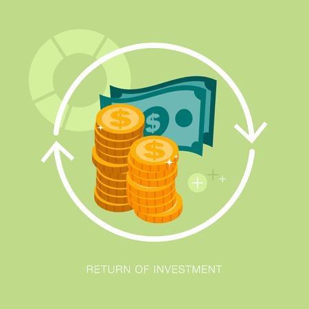 coin stack: vector modern return of investment concept illustration