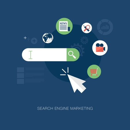 keywords link: vector modern search engine marketing concept illustration