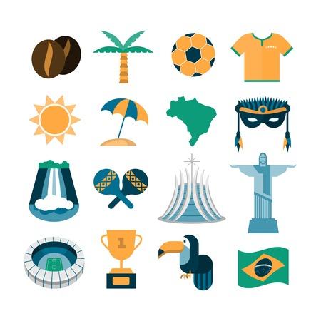 mascaras de carnaval: Conjunto de vectores iconos de Brasil