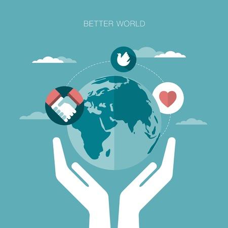 universal love: concepto de ilustración vectorial de un mundo mejor