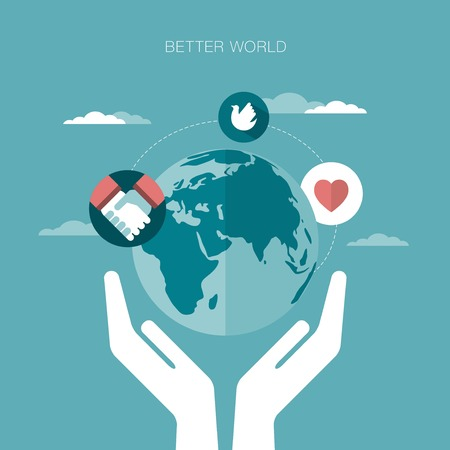 worldwide wish: vector concept illustration of better world Illustration