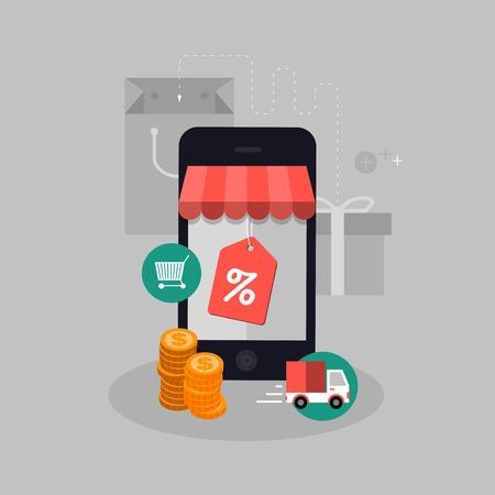 vector compra móvil ilustración del concepto