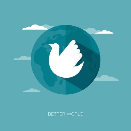 worldwide wish: vector concept illustration of better world Illustration