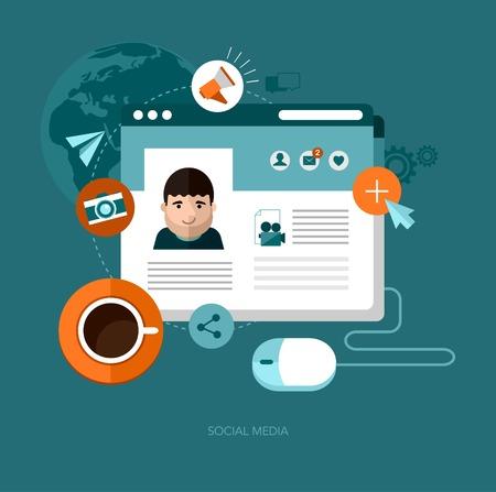 blue web icons: vector social media concept illustration Illustration