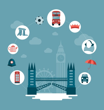london skyline: vector London and UK concept illustration Illustration