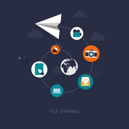 file sharing: vector modern file sharing concept illustration