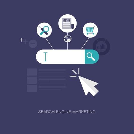 ベクター近代的な検索エンジン マーケティングの概念図  イラスト・ベクター素材