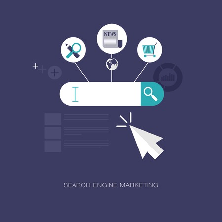 marketing concept: vector modern search engine marketing concept illustration