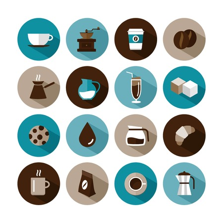 set van vector koffie pictogrammen Stock Illustratie