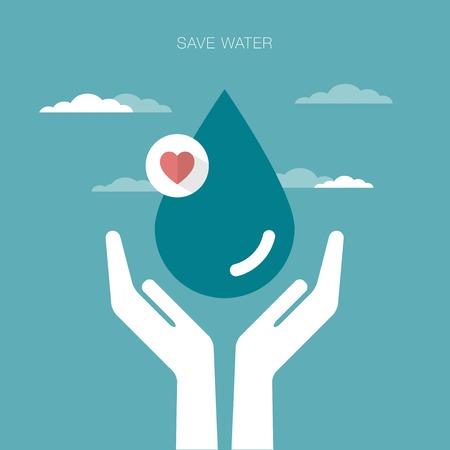 ahorrar agua: concepto de ilustraci�n vectorial de manos que sostienen una gota de agua Vectores