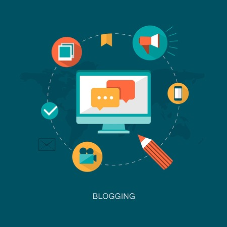 content writing: modern vector blogging concept illustration