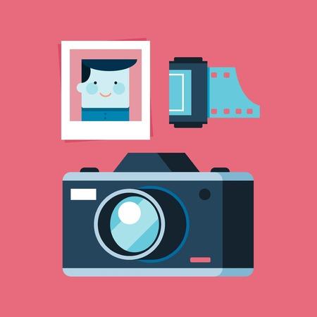 analogue: analogue photography equipment, camera, photo and film, flat style illustration