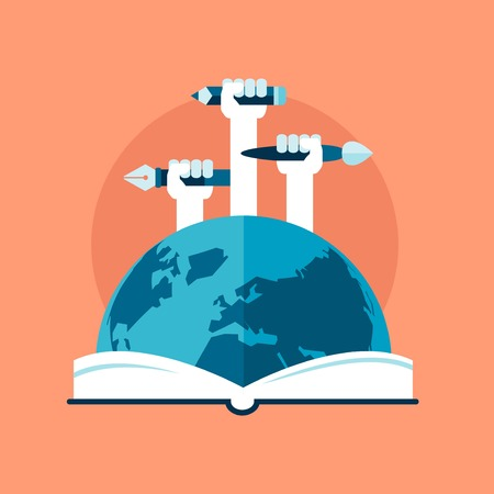open book icon: concept of global education, flat style Illustration