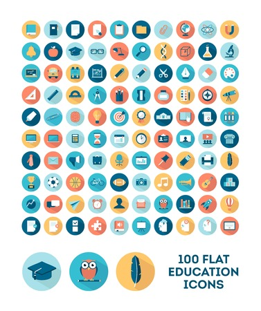 set of 100 flat style education icons, illustration
