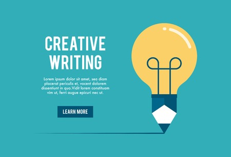 content writing: concept of creative writing workshop, illustration Illustration