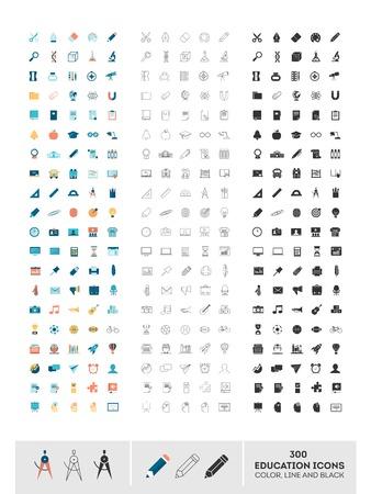 educacion: conjunto de 300 iconos de la educaci�n realizado en color, la l�nea y negro, ilustraci�n Vectores