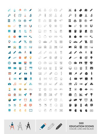 set of 300 education icons made in color, line and black, illustration Vettoriali