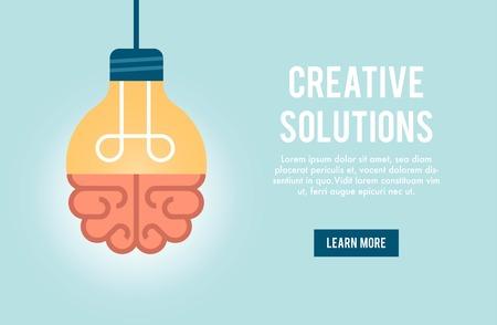 bandera concepto para la solución creativa, ilustración Ilustración de vector