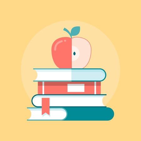 Pile de livres à la pomme sur le dessus, illustration Banque d'images - 37261694