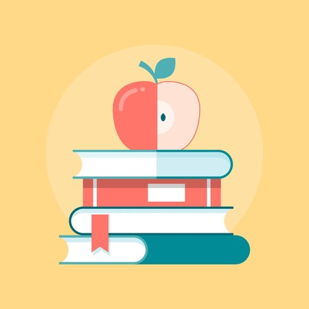stack of books with apple on top, illustration