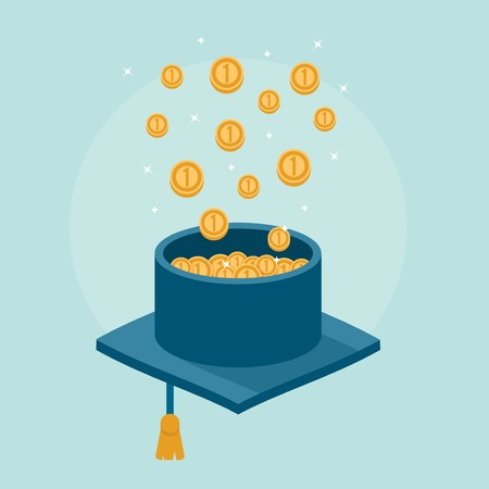 return on investment: concept banner of graduation cap filled with money, illustration Illustration