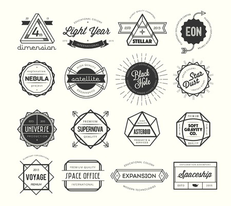 set of vintage badges and labels, inspired by space themes, illustration Vettoriali